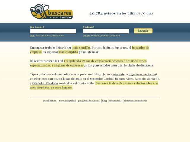 screenshot of Buscares.com: Busqueda Laboral Vertical en Argentina