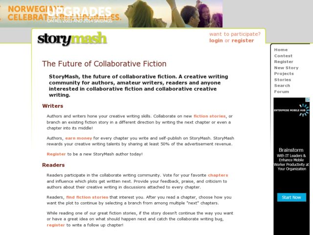 screenshot of StoryMash.com - The Future of Collaborative Fiction