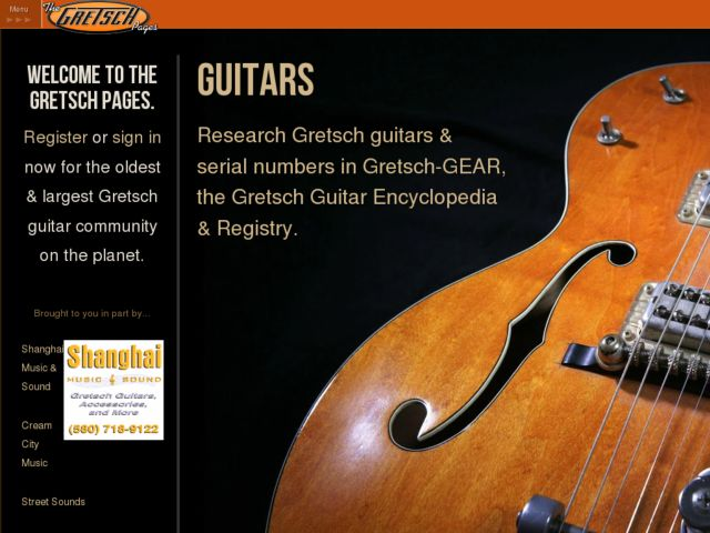 screenshot of The Gretsch Pages