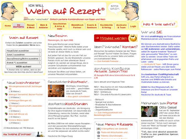 screenshot of Wein auf Rezept