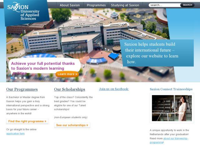 screenshot of Saxion University