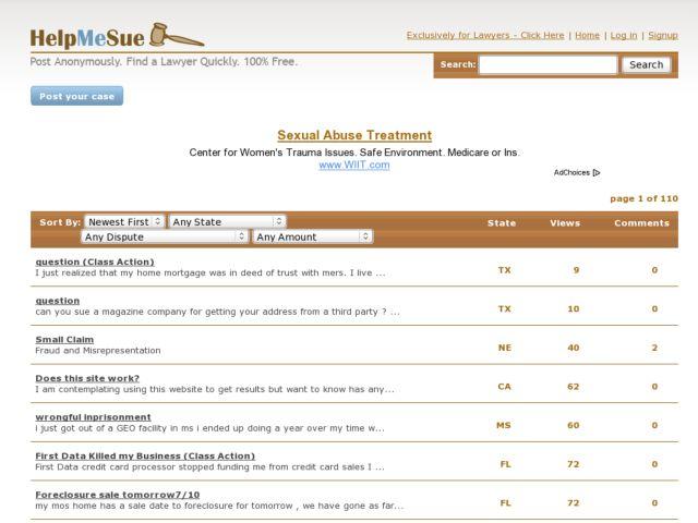 screenshot of HelpMeSue.com