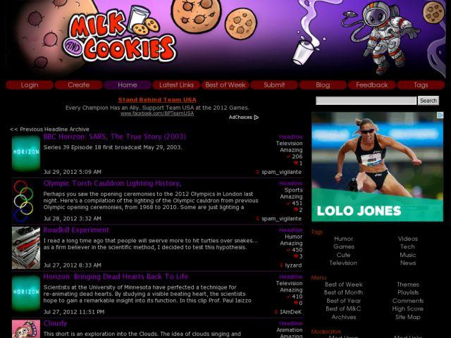screenshot of MilkandCookies.com