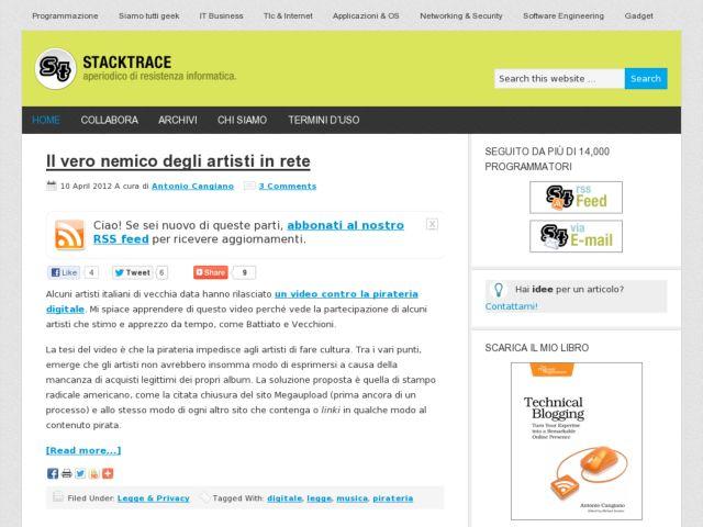 Stacktrace: aperiodico di resistenza informatica