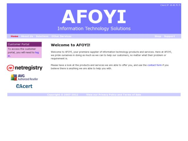 screenshot of AFOYI
