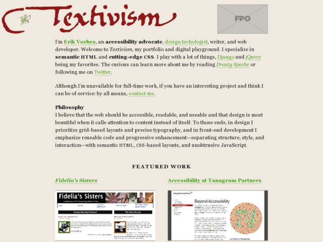 screenshot of Textivism