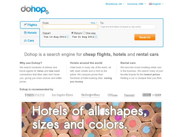 screenshot of dohop.com