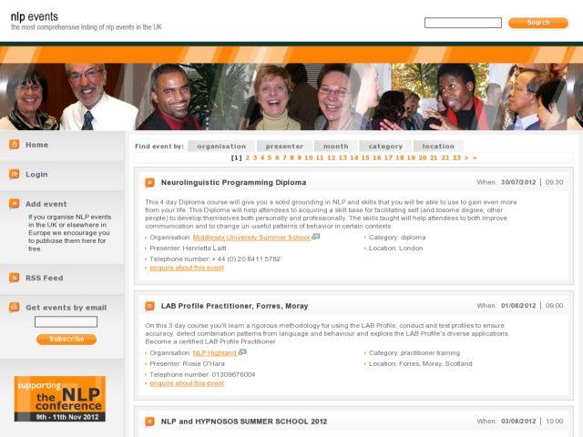 screenshot of NLP events