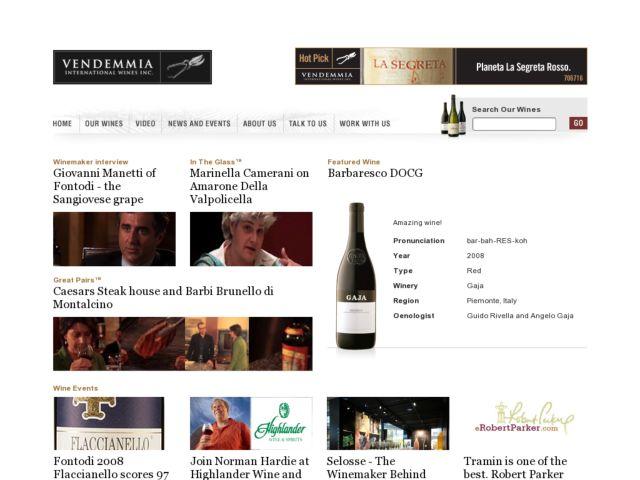 screenshot of Vendemmia International Wines