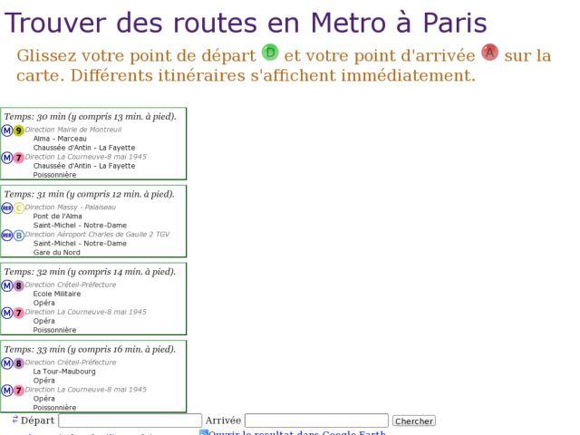 Trouver des routes en Metro à Paris