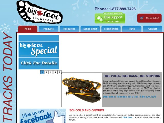 screenshot of Bigfoot Snowshoes