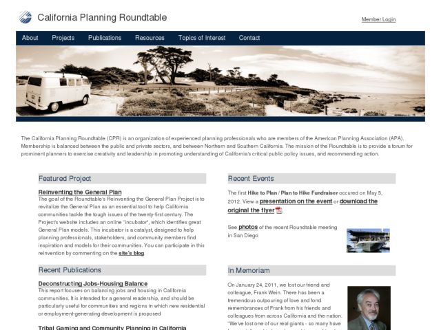 screenshot of California Planning Roundtable