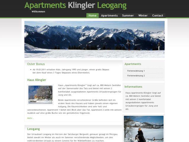 screenshot of Apartments Klingler Leogang