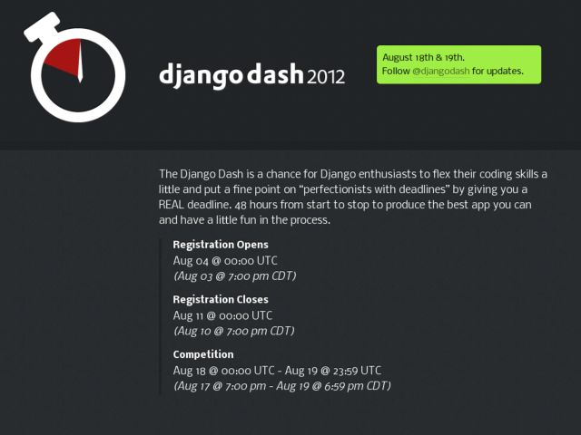 screenshot of Django Dash