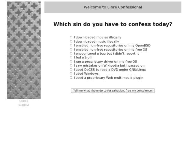 screenshot of Libre Confessional