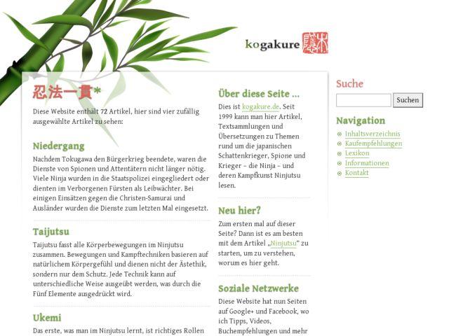 screenshot of kogakure.de – Ninja, Ninjutsu und Kampfkunst