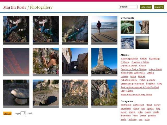 screenshot of Martin Kosír - Photogallery