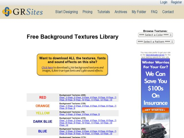 screenshot of GRSites.com