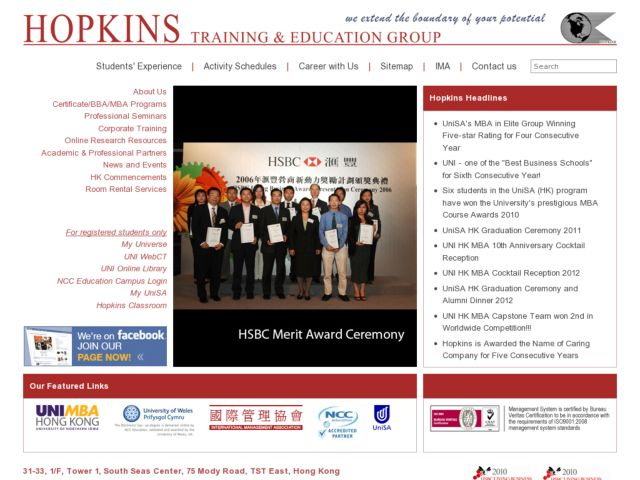 screenshot of Hopkins Training & Education Group Hong Kong