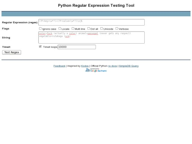 Python Regular Expression Testing Tool