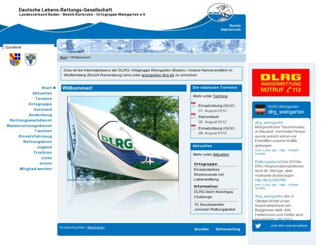 screenshot of DLRG Weingarten (Baden)