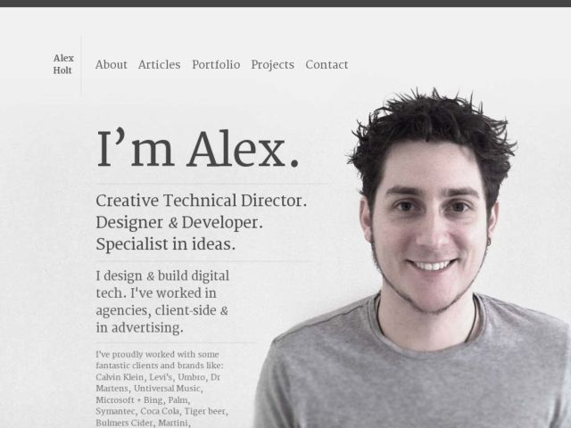 screenshot of rex // Web + Graphic Design Blog