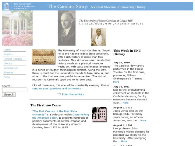 screenshot of The Carolina Story: A Virtual Museum of University History