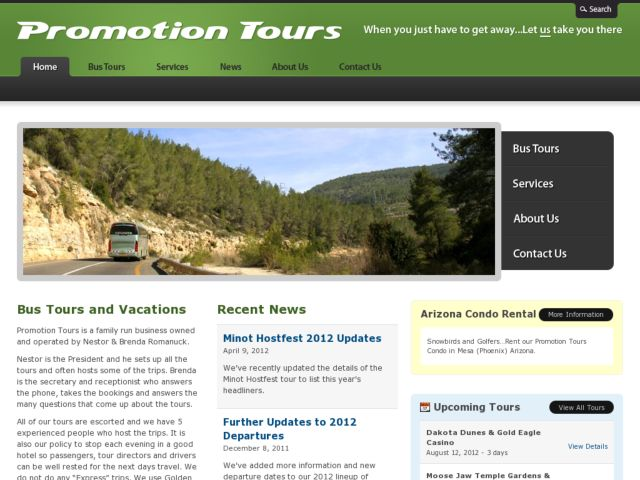 screenshot of Promotion Tours