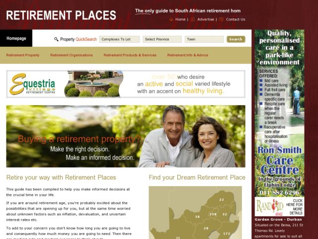 screenshot of Retirment Places - Real EstateSouth Africa