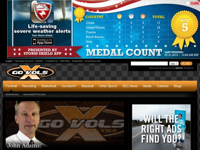 screenshot of GoVolsXtra: University of Tennessee Sports