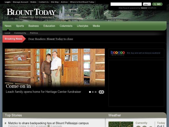 screenshot of Blount Today