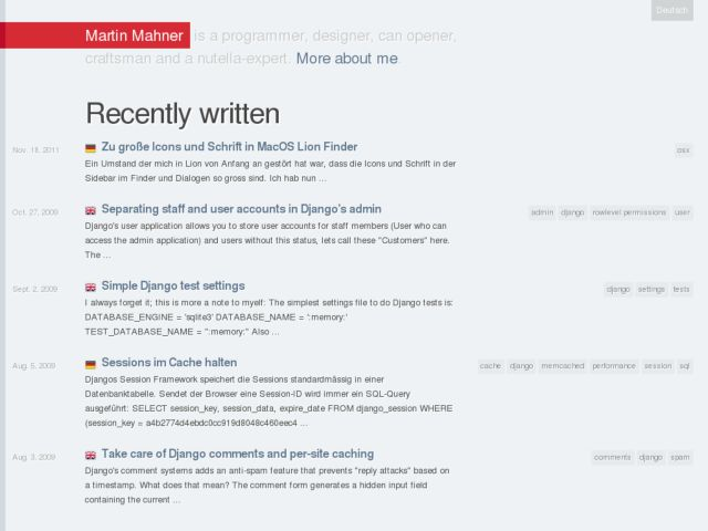 screenshot of mahner.org | personal weblog
