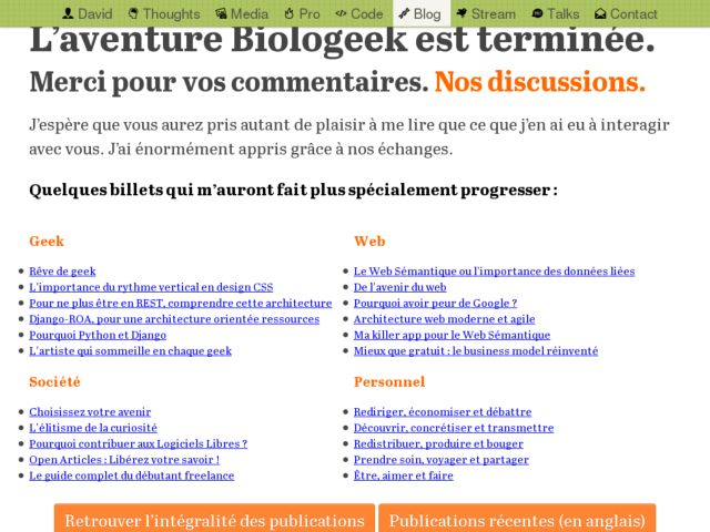 Biologeek, a freelance guy on Semantic Web and more