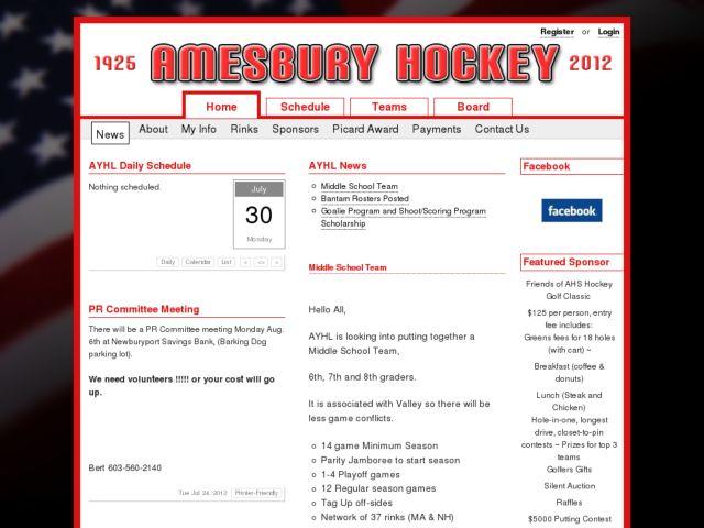 screenshot of Amesbury Youth Hockey League
