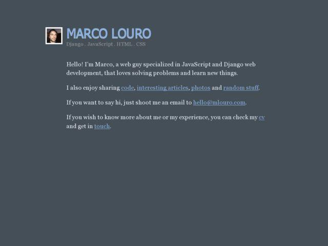 screenshot of Marco Louro's bliki