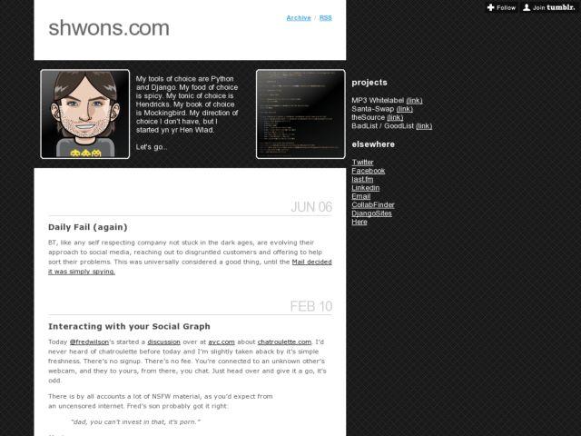 screenshot of shwons.com