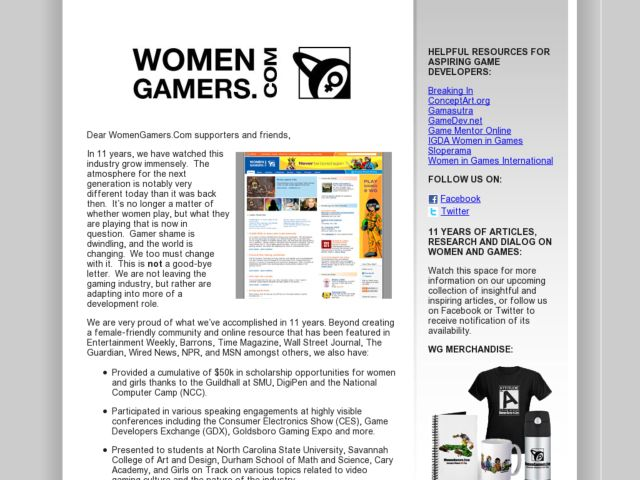 screenshot of WomenGamers.Com