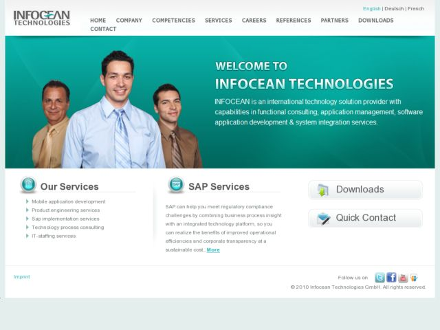 screenshot of Infocean Technologies (CMS Site)