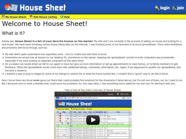 House Sheet