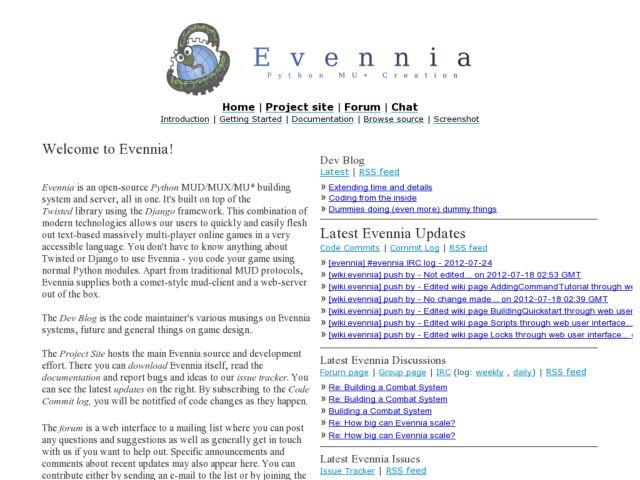 screenshot of Evennia MUD Server