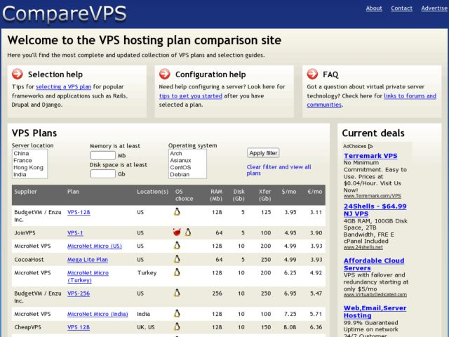 Compare VPS hosting plans