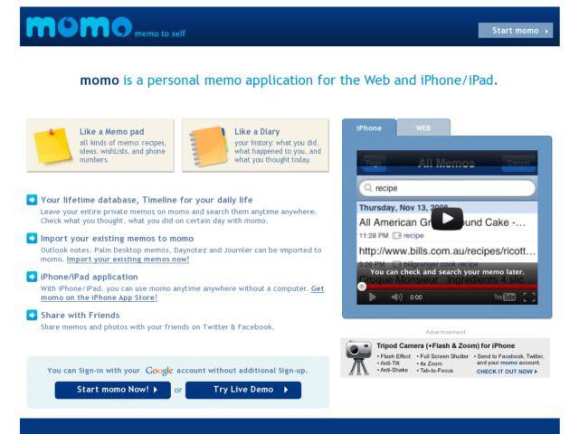screenshot of momo