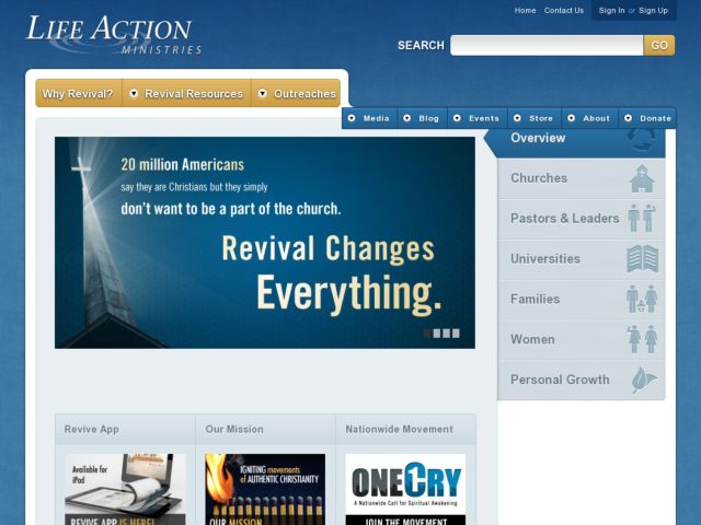screenshot of Life Action Ministries