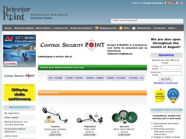 screenshot of Detector Point Metaldetector e-commerce