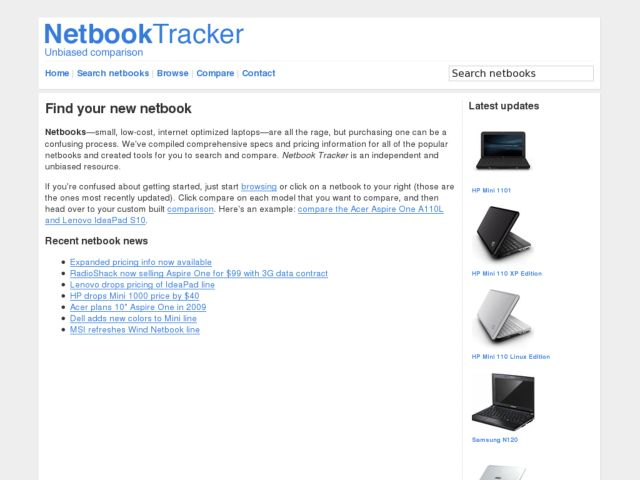 screenshot of Netbook Tracker
