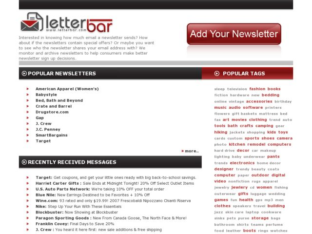 screenshot of LetterBar- Email Newsletter Archive