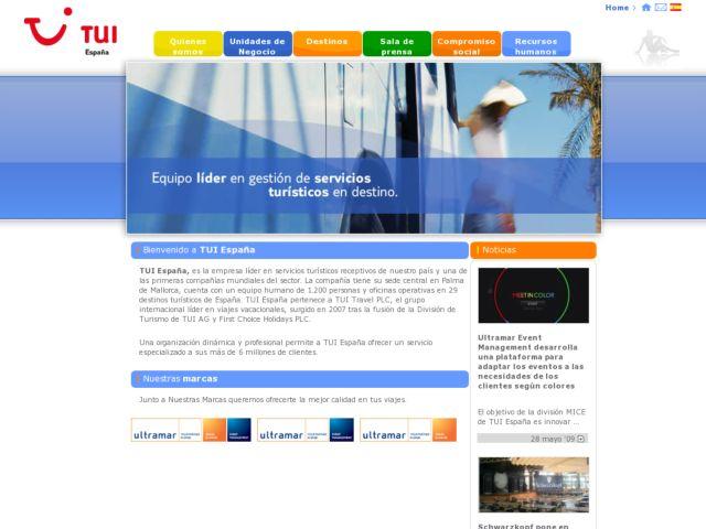 screenshot of TUI España Corporate Site