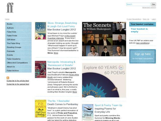 screenshot of Faber & Faber