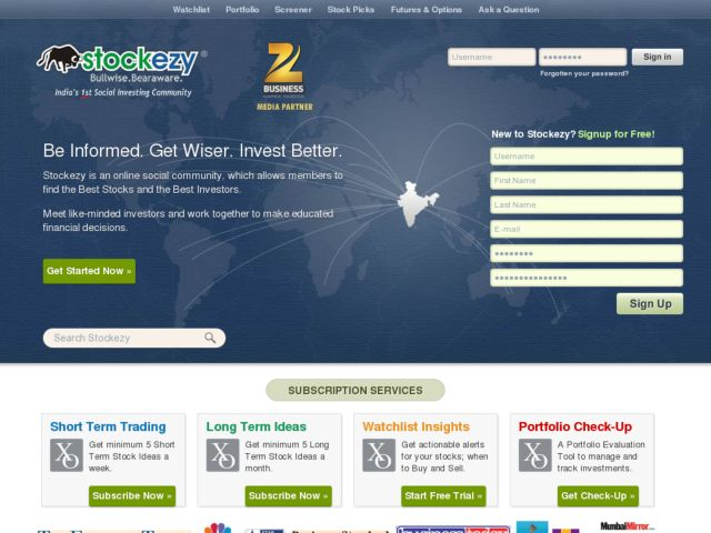 screenshot of stockezy - India's Social Investing Community