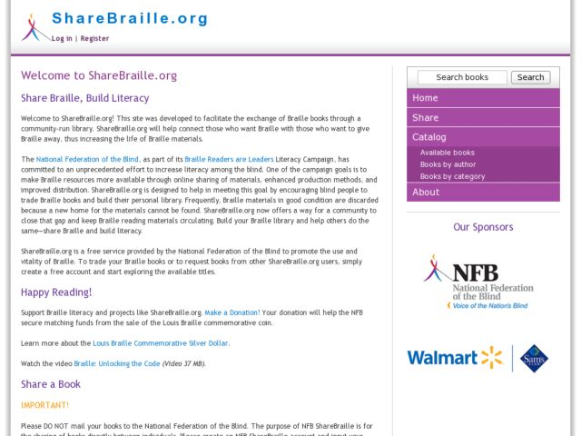 screenshot of NFB ShareBraille